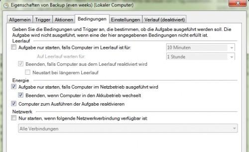 Windows Scheduler - Aufgabeneigenschaften