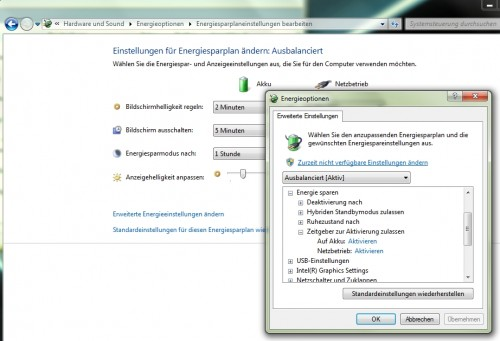 Windows Scheduler - Energieoptionen