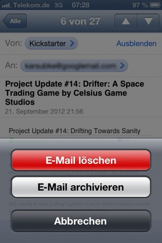 iOS6-GMail - Single Mail Delete Menu