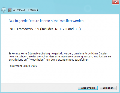 Win8 .Net 3.5 installation - Error message