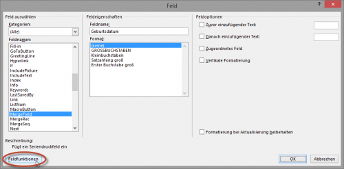 Datumsfelder in Word - Feldfunktion