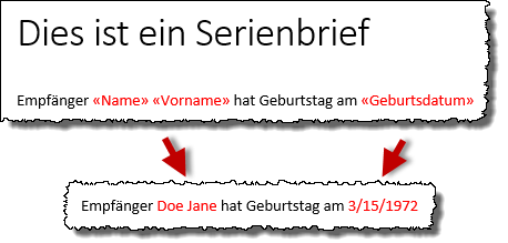 Word Serienbrief - Header
