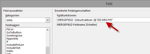 Word Serienbrief - MergeField mit Format